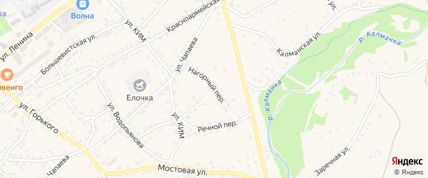 Нагорный переулок на карте села Усть-Калманки с номерами домов
