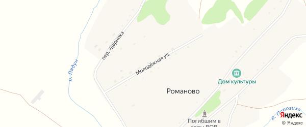 Молодежная улица на карте села Романово с номерами домов