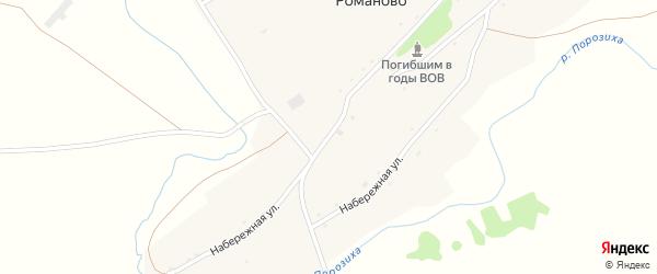 Советская улица на карте села Романово с номерами домов