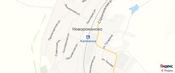 Карта села Новороманово в Алтайском крае с улицами и номерами домов