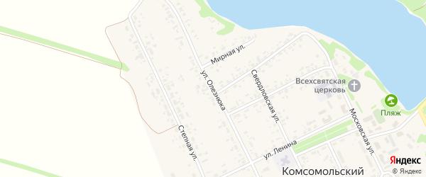 Улица Олезнюка на карте Комсомольского поселка с номерами домов