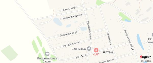 Пионерская улица на карте поселка Алтая с номерами домов