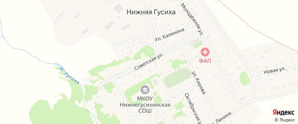 Советская улица на карте села Нижней Гусихи с номерами домов