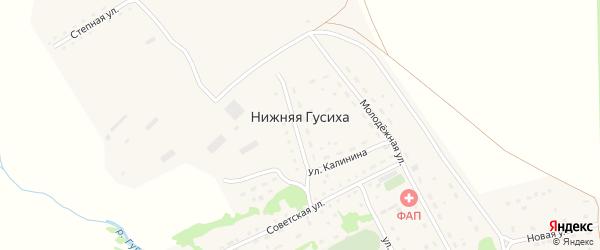 Комсомольская улица на карте села Нижней Гусихи с номерами домов