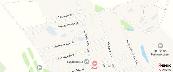 Центральная улица на карте поселка Алтая с номерами домов