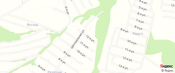 12-я улица на карте территории сдт Лугового с номерами домов