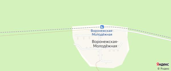 Дорожная улица на карте Воронежской-Молодежной станции с номерами домов