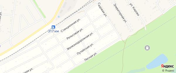 Рельсовая улица на карте территории сдт Железнодорожника с номерами домов
