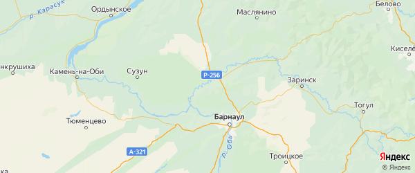 Карта Тальменского района Алтайского края с городами и населенными пунктами