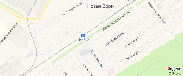 Железнодорожная улица на карте поселка Новые Зори с номерами домов