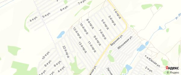 Карта садового некоммерческого товарищества Алмаза города Барнаула в Алтайском крае с улицами и номерами домов