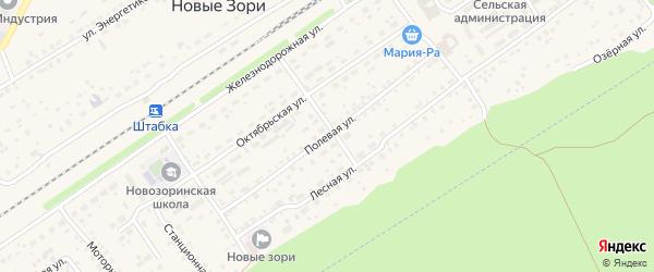 Полевая улица на карте поселка Новые Зори с номерами домов