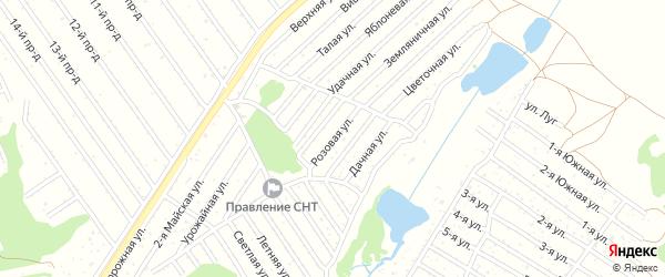 Розовая улица на карте садового некоммерческого товарищества Полета с номерами домов