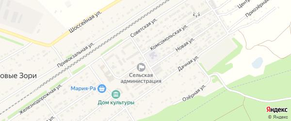 Комсомольская улица на карте поселка Новые Зори с номерами домов