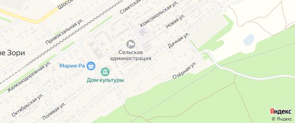 Дачная улица на карте поселка Новые Зори с номерами домов