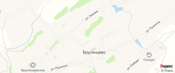 Конечный переулок на карте села Брусенцево с номерами домов