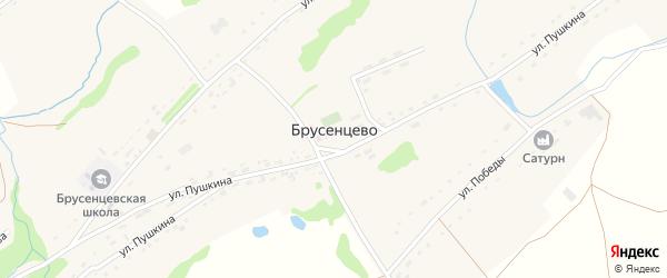 Луговой переулок на карте села Брусенцево с номерами домов