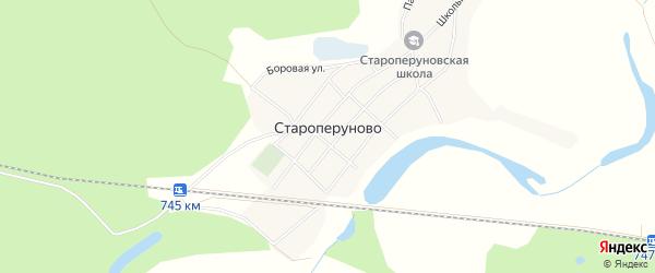 Карта села Староперуново в Алтайском крае с улицами и номерами домов