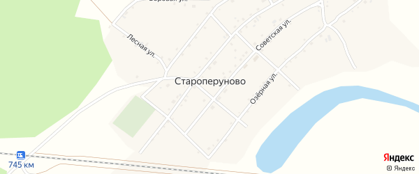 Озерный переулок на карте села Староперуново с номерами домов
