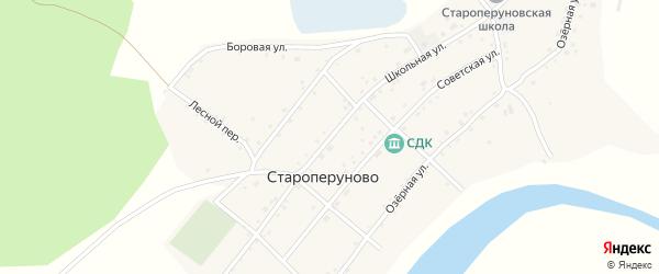 Школьная улица на карте села Староперуново с номерами домов