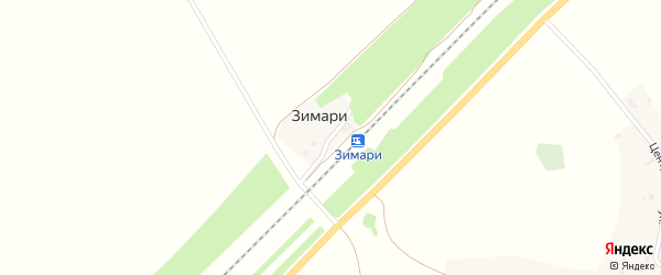 Железнодорожная улица на карте разъезда Зимари с номерами домов