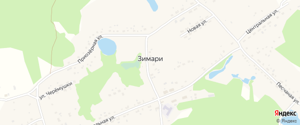 Приозерная улица на карте села Зимари с номерами домов