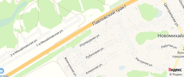 Изумрудная улица на карте поселка Новомихайловки с номерами домов