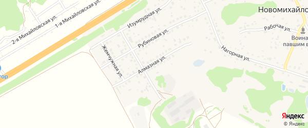 Алмазная улица на карте поселка Новомихайловки с номерами домов