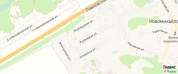 Рубиновая улица на карте поселка Новомихайловки с номерами домов