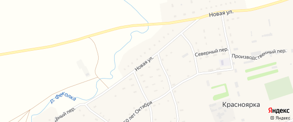 Новая улица на карте села Красноярки с номерами домов