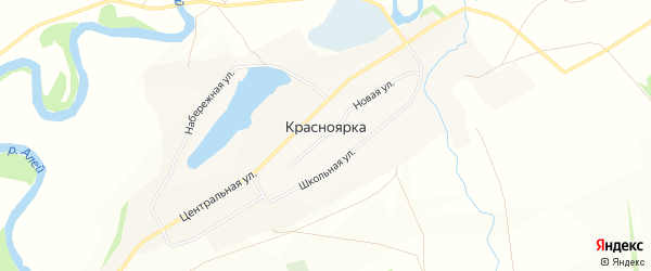 Карта села Красноярки в Алтайском крае с улицами и номерами домов