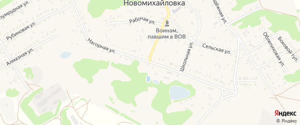 Нагорная улица на карте поселка Новомихайловки с номерами домов