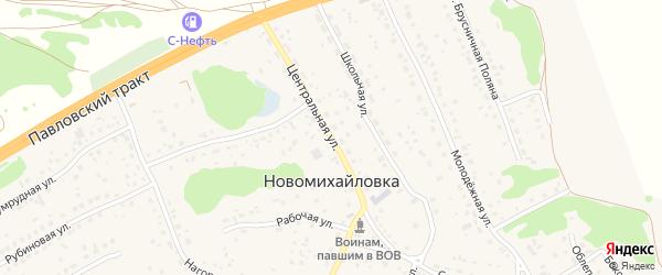 Центральная улица на карте поселка Новомихайловки с номерами домов