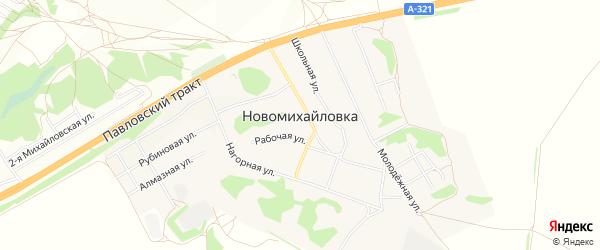 Карта поселка Новомихайловки города Барнаула в Алтайском крае с улицами и номерами домов