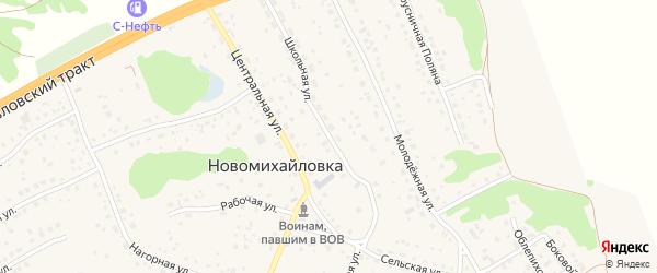 Школьная улица на карте поселка Новомихайловки с номерами домов