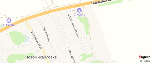 Улица Брусничная Поляна на карте поселка Новомихайловки с номерами домов