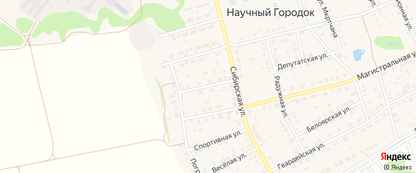 Институтская улица на карте поселка Научного Городка с номерами домов