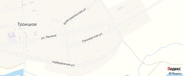 Пионерская улица на карте Троицкого села с номерами домов