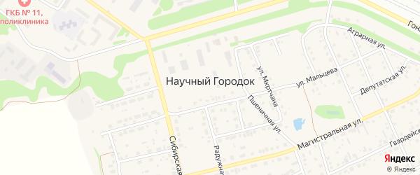 Пшеничная улица на карте поселка Научного Городка с номерами домов