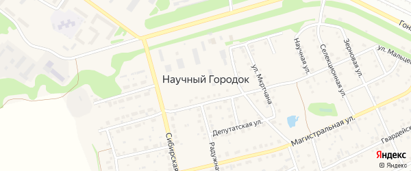 Зерновая улица на карте поселка Научного Городка с номерами домов