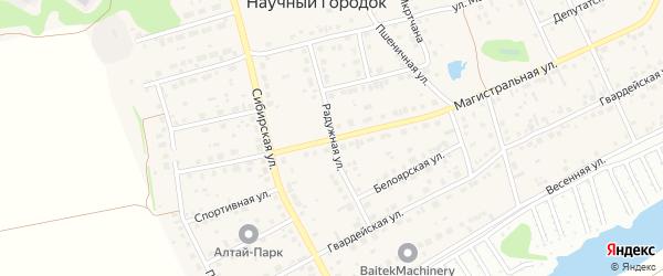 Радужная улица на карте поселка Научного Городка с номерами домов