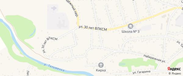 1-й Фабричный переулок на карте поселка Тальменки с номерами домов