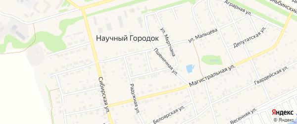 Телефонная улица на карте поселка Научного Городка с номерами домов
