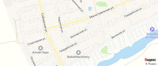 Белоярская улица на карте поселка Научного Городка с номерами домов