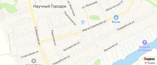 Магистральная улица на карте поселка Научного Городка с номерами домов