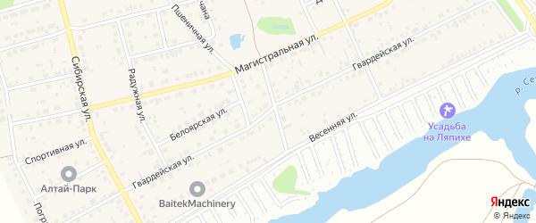 Гвардейская улица на карте поселка Научного Городка с номерами домов