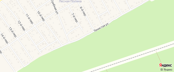 Тенистая улица на карте Лесного поселка с номерами домов