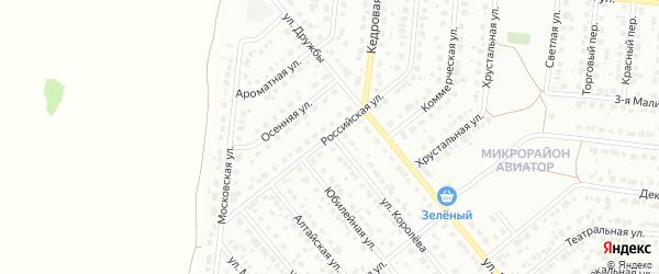 Российская улица на карте Барнаула с номерами домов