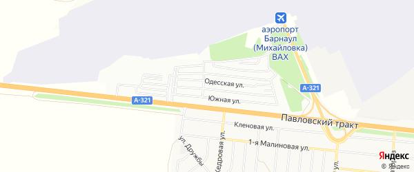 Карта садового некоммерческого товарищества Аэрофлота города Барнаула в Алтайском крае с улицами и номерами домов