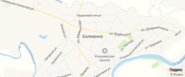 Карта села Калманки в Алтайском крае с улицами и номерами домов